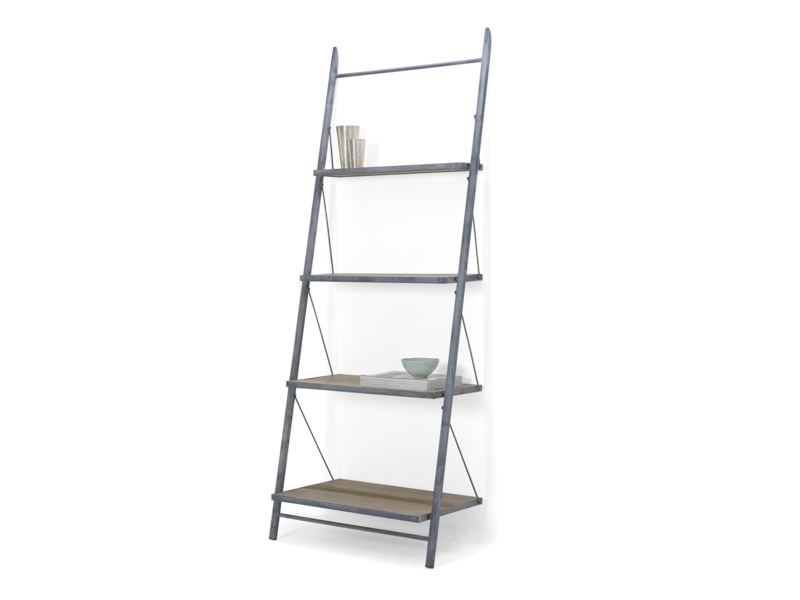 Industrial leaning Pisa ladder shelves