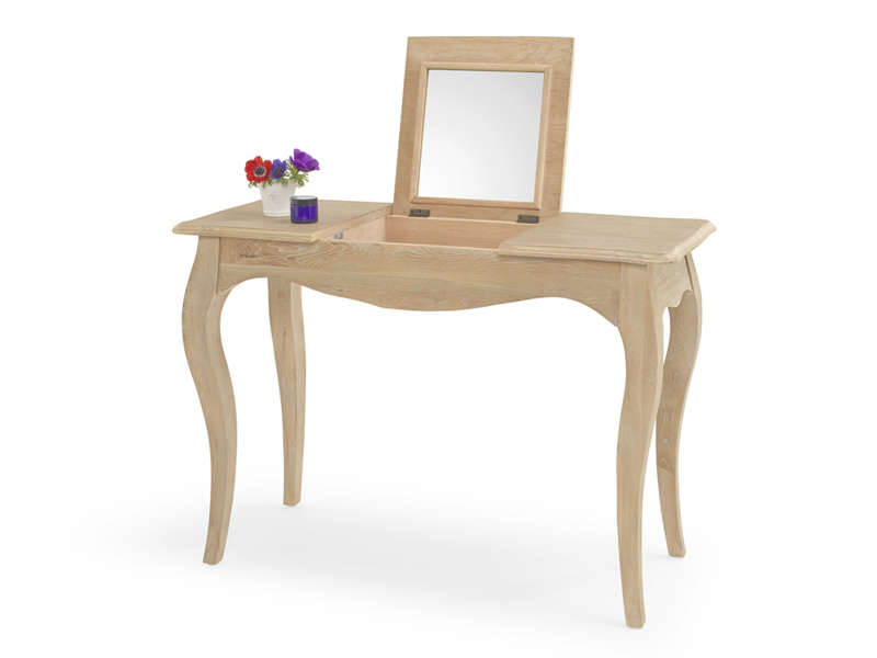 Thelma French style dressing table with mirror in oak
