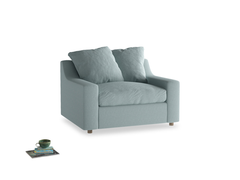 Love Seat Sofa Bed Cloud love seat sofa bed in Smoke blue brushed cotton