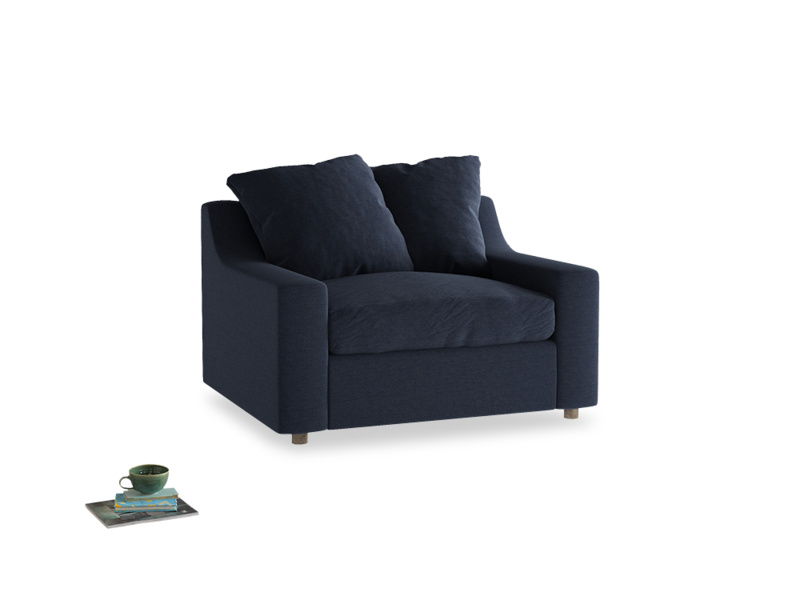 Love Seat Sofa Bed Cloud love seat sofa bed in Indigo vintage linen