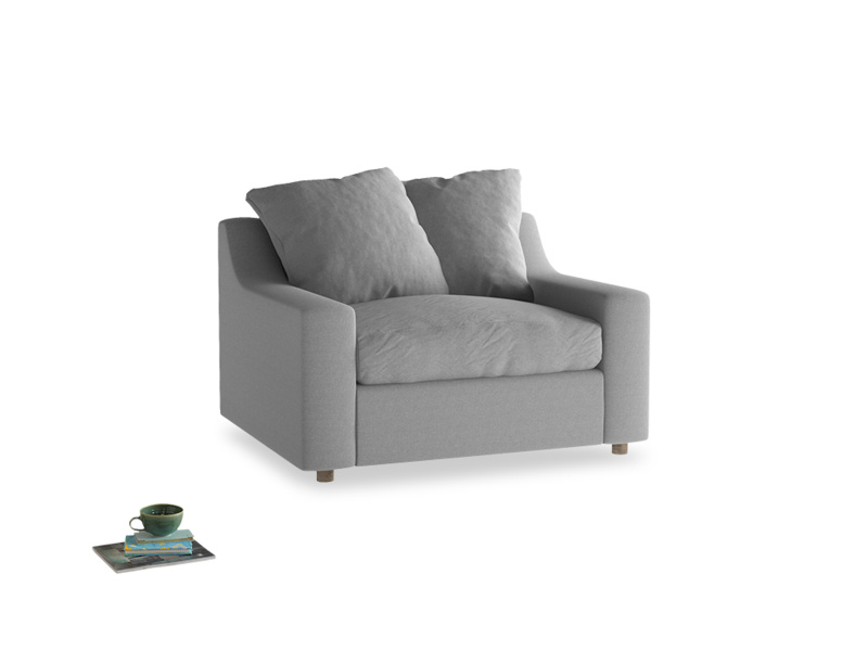 Love Seat Sofa Bed Cloud love seat sofa bed in Magnesium washed cotton linen