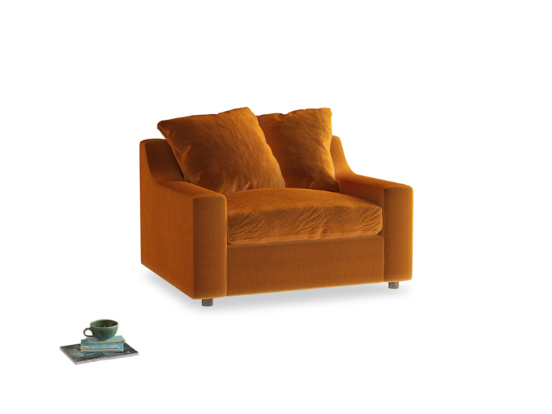 Love Seat Sofa Bed Cloud love seat sofa bed in Spiced Orange clever velvet