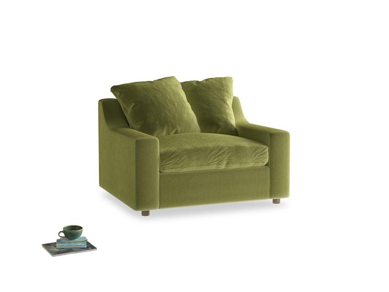 Love Seat Sofa Bed Cloud love seat sofa bed in Olive plush velvet