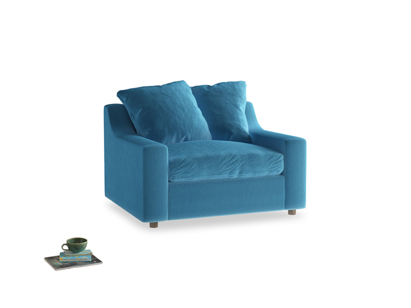 Love Seat Sofa Bed Cloud love seat sofa bed in Teal Blue plush velvet
