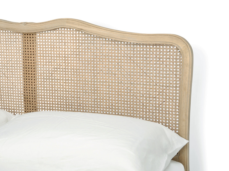 Hand woven rattan headboard on beautiful French vintage Margot bed