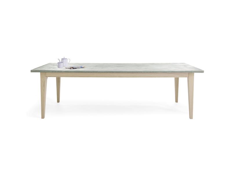 Conker lightweight concrete kitchen table with oak legs