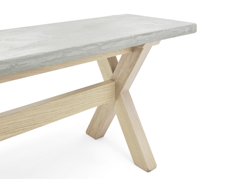 Industrial kitchen Budge bench with sustainably sourced oak legs