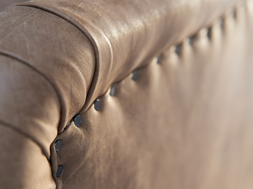 Extra deep and comfy luxury Pavlova sofa finished with gunmetal upholstery nail detail