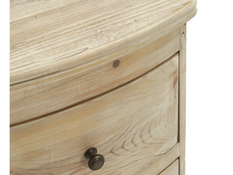 Detail of french style Bastille bedside table handmade from solid oak with a lovely beached timber finish
