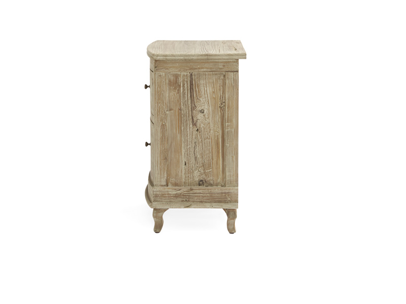 Side view of french style Bastille bedside table with storage drawers handmade in solid reclaimed fir