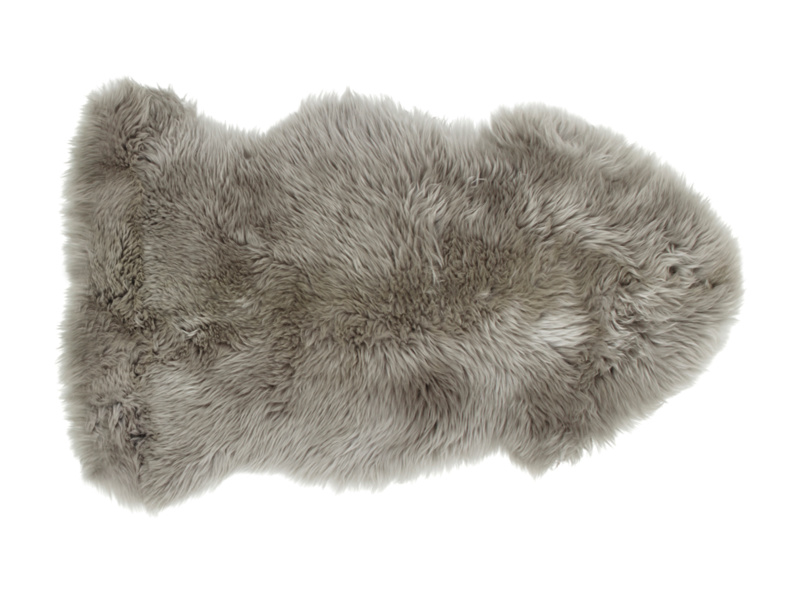 Grey small fur fluffy Nuzzler sheepskin rug