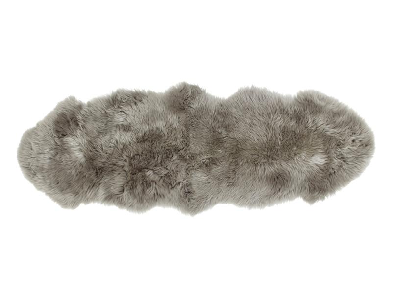 Nuzzler grey small fur fluffy sheepskin runner