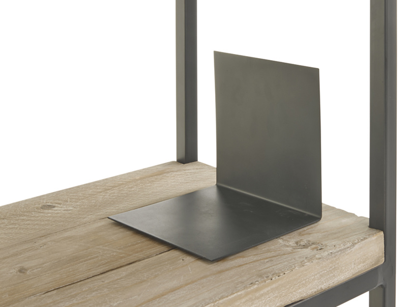 Reclaimed industrial High Five shelves with hand welded metal frame