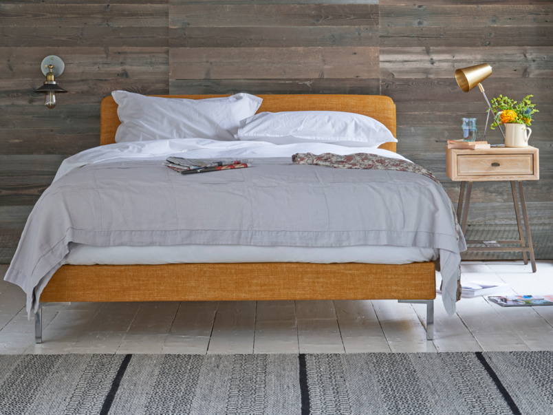 Beautiful contemporary upholstered luxury Chrome bed
