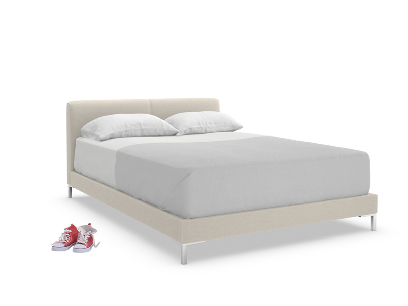 Luxury Chrome upholstered contemporary bed is handmade in Britain