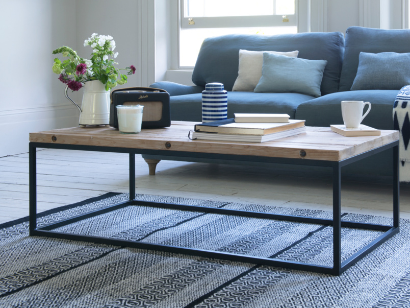 Reclaimed poste industrial style Poste coffee table with vintage metal legs