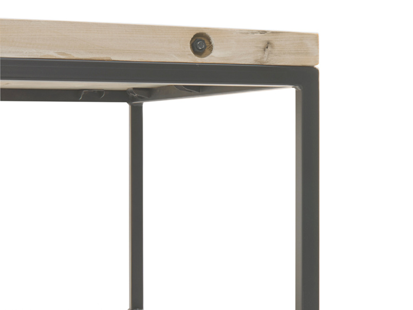 Industrial style wooden reclaimed British made Poste coffee table with metal legs
