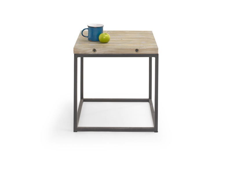 Industrial style square Postino reclaimed wooden side table