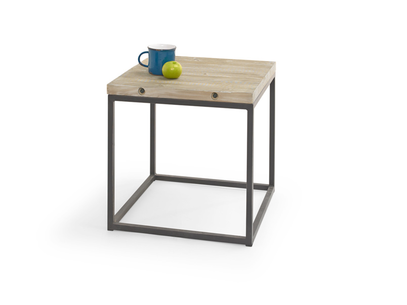 Industrial design Postino side table handmade from reclaimed wood and metal