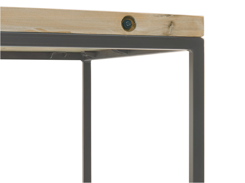 Industrial design square Postino side table made from reclaimed wood and metal