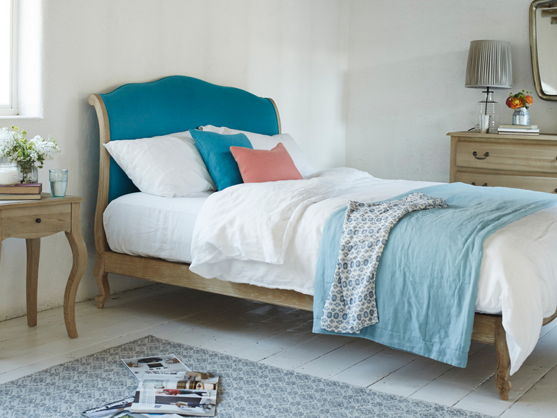 Coco French inspired style bed handmade by skilled craftsmen in beautiful solid weathered oak