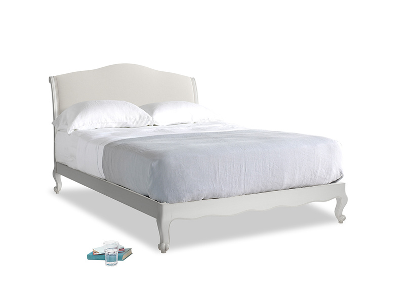 Kingsize Coco Bed in Scuffed Grey in Oyster white clever linen