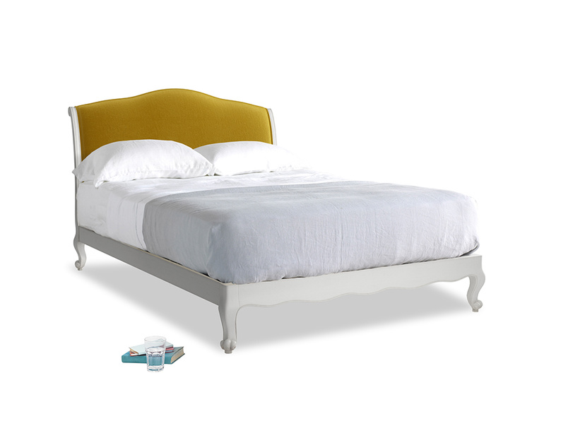 Kingsize Coco Bed in Scuffed Grey in Burnt yellow vintage velvet