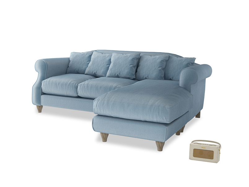 Large right hand Sloucher Chaise Sofa in Chalky blue vintage velvet