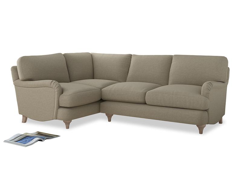 Large Left Hand Jonesy Corner Sofa in Jute vintage linen