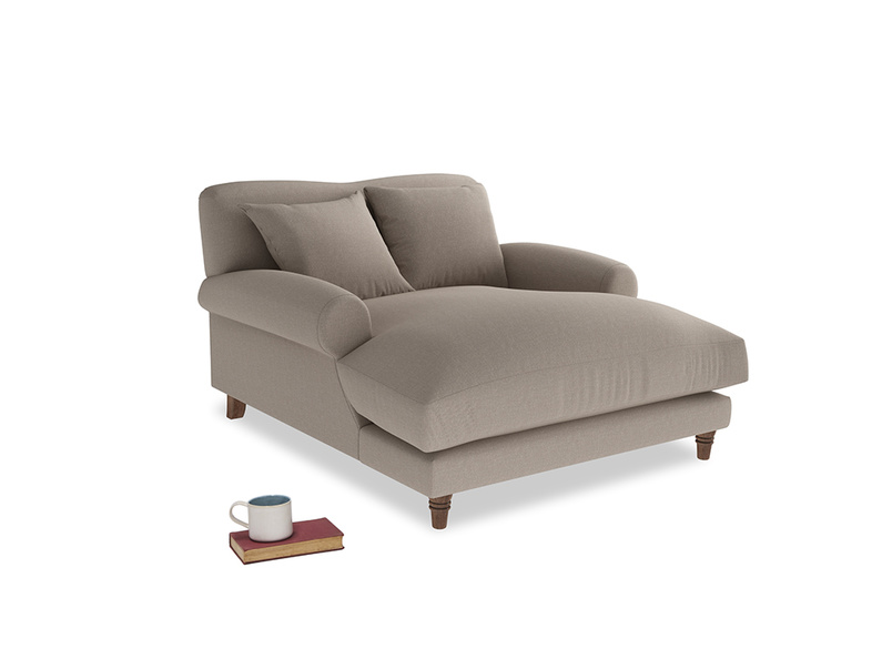 Crumpet Love Seat Chaise in Driftwood Brushed Cotton