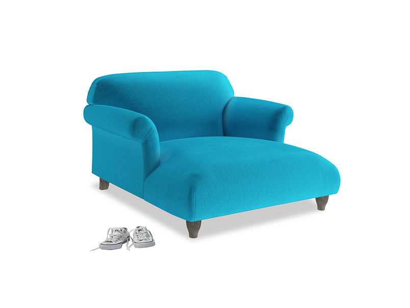 Love Seat Chaise Soufflé Love Seat Chaise in Azure plush velvet
