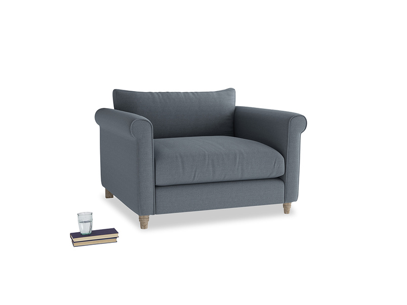 Love Seat Weekender Love seat in Blue Storm washed cotton linen