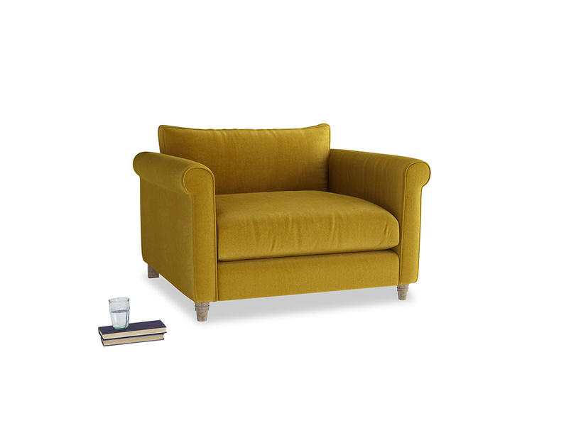 Love Seat Weekender Love seat in Burnt yellow vintage velvet