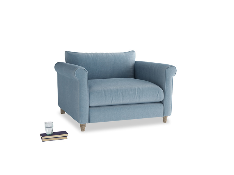 Love Seat Weekender Love seat in Chalky blue vintage velvet