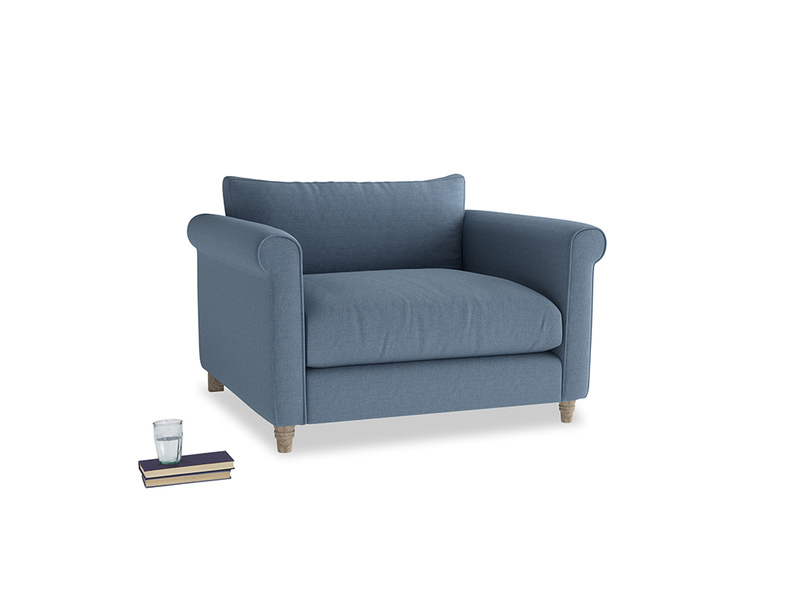 Love Seat Weekender Love seat in Nordic blue brushed cotton