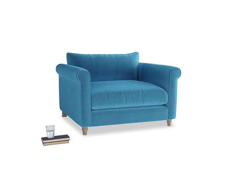 Love Seat Weekender Love seat in Teal Blue plush velvet