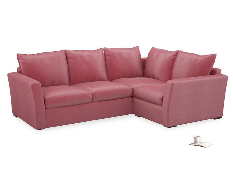 Large Right Hand Pavilion Corner Sofa Bed in Blushed Pink Vintage Velvet
