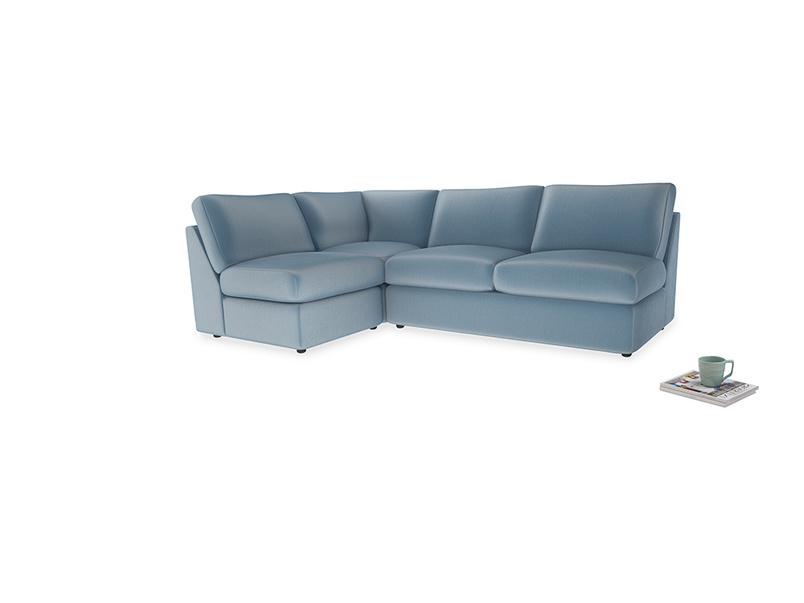 Large left hand Chatnap modular corner sofa bed in Chalky blue vintage velvet