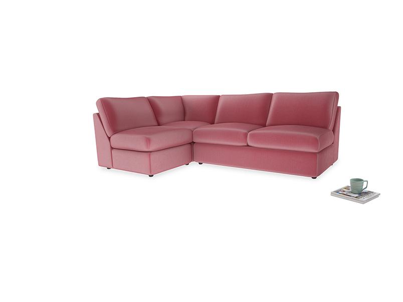 Large Left Hand Chatnap Modular Corner Sofa Bed in Blushed Pink Vintage Velvet with no arms