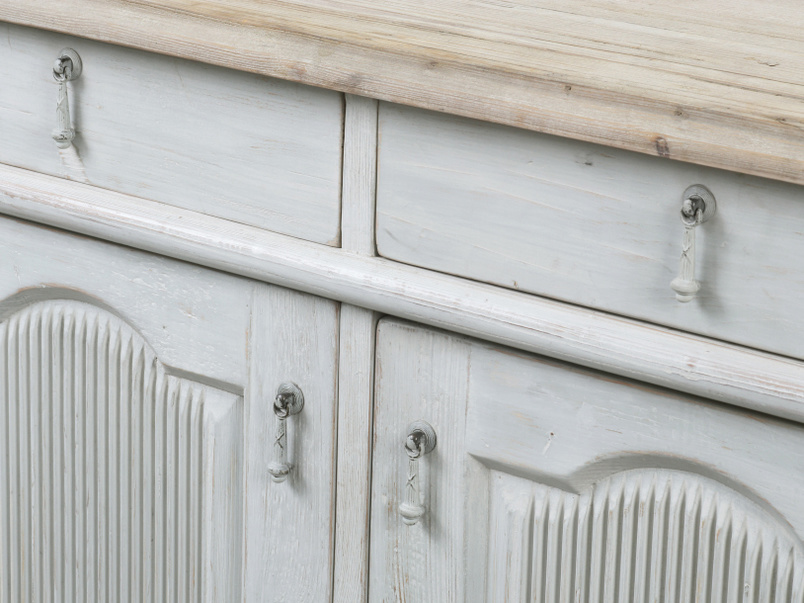 French antique Grand Teardrop vintage wooden grey sideboard