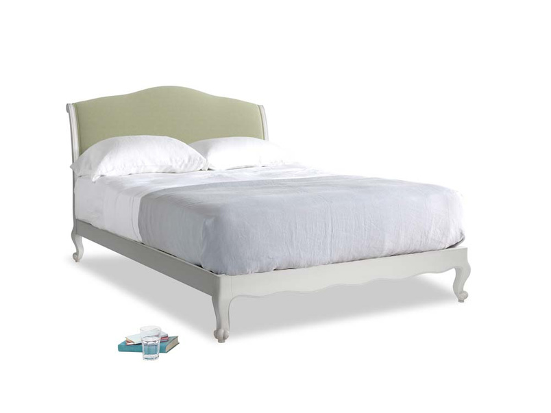 Kingsize Coco Bed in Scuffed Grey in Old sage washed cotton linen