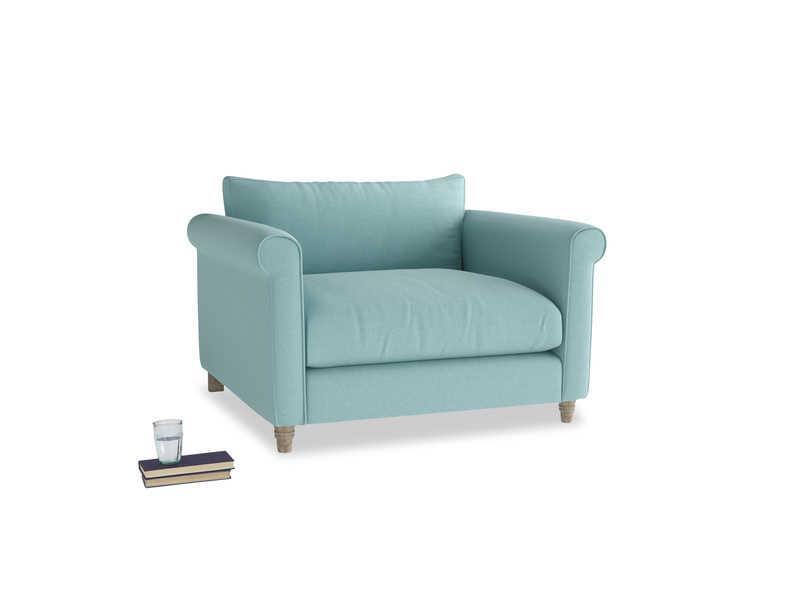 Love Seat Weekender Love seat in Adriatic washed cotton linen