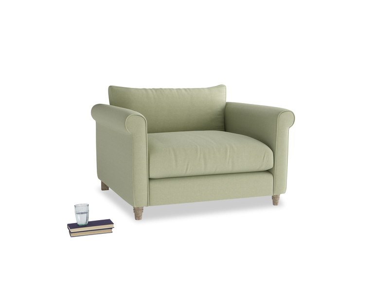 Love Seat Weekender Love seat in Old sage washed cotton linen