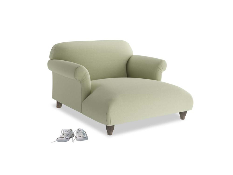 Love Seat Chaise Soufflé Love Seat Chaise in Old sage washed cotton linen