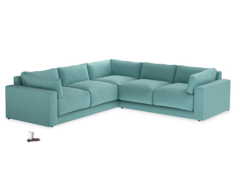 Even-sided Atticus Corner Sofa in Kingfisher Clever Cotton