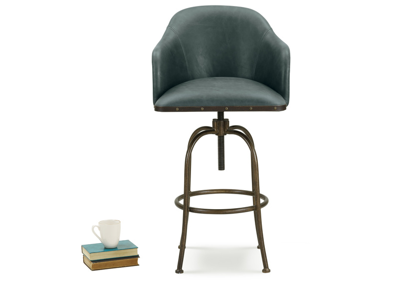 Upholstered swivel Milk contemporary kitchen and breakfast bar stool