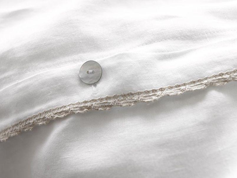 Lordy bedding in beautiful Belgian crushed linen & mother of pearl buttons
