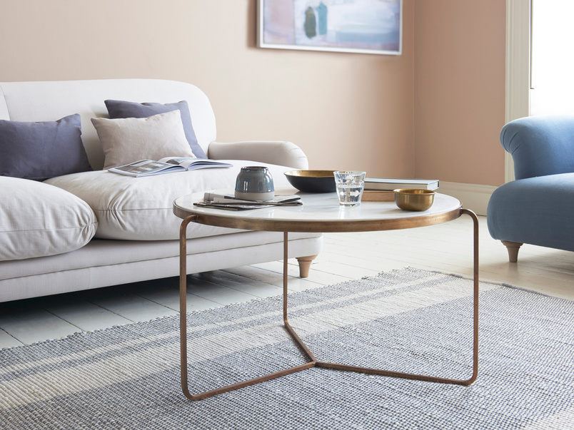 Low Jinks brass and marble top contemporary coffee table