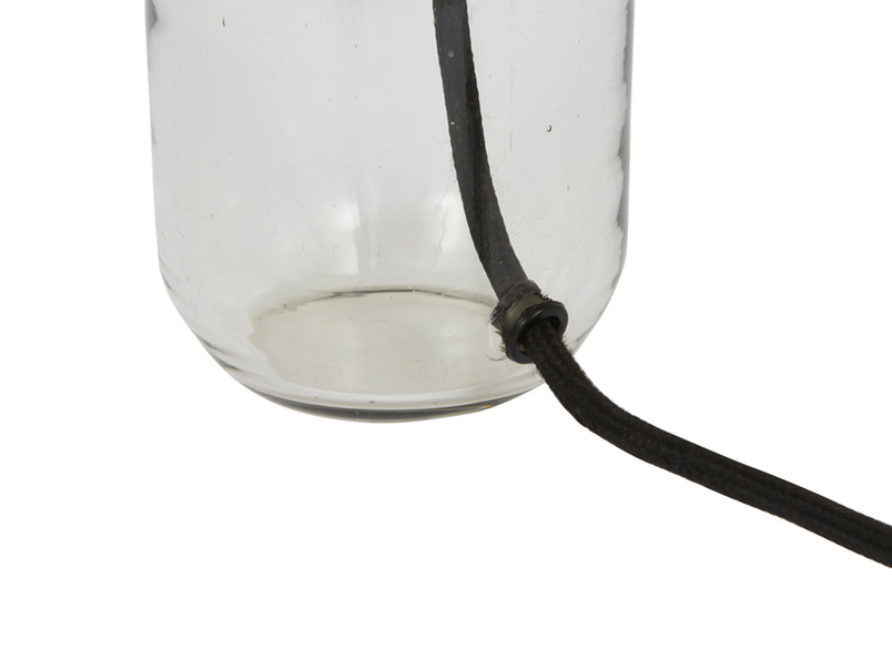Milk bottle shaped glass base table lamp