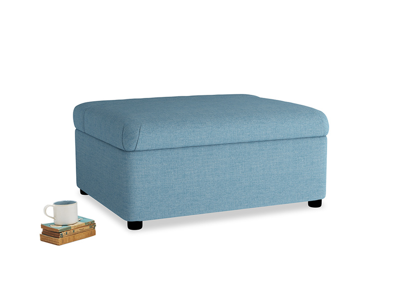 Single Bed in a Bun in Moroccan blue clever woolly fabric